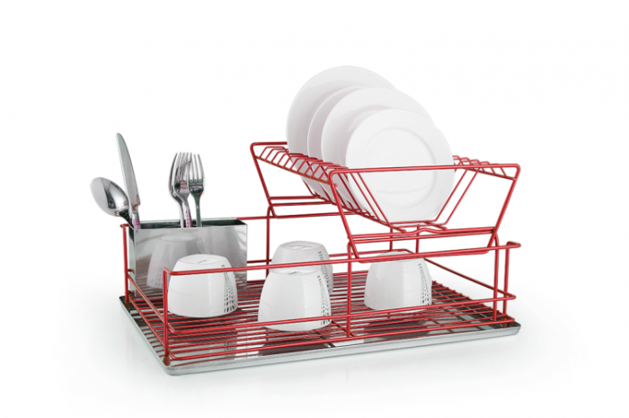 2 Tier Stainless Steel Red Dish Drainer with Drip Tray and Cutlery Holder