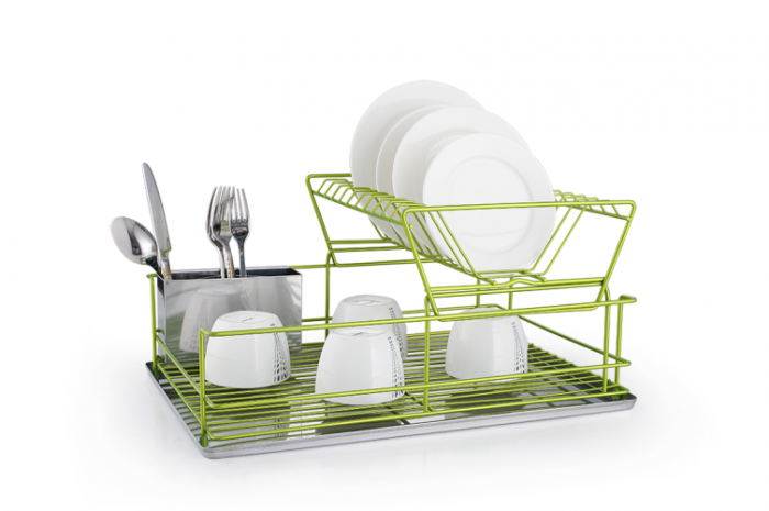 Two Tier Stainless Steel Green Dish Drainer with Drip Tray and Cutlery Holder