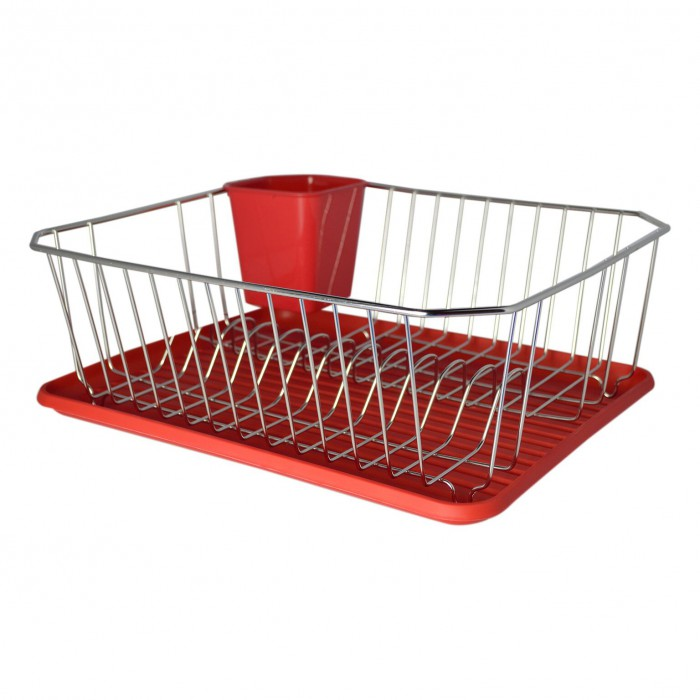 Dish Drainer with Red Plastic Drip Tray and Cutlery Holder
