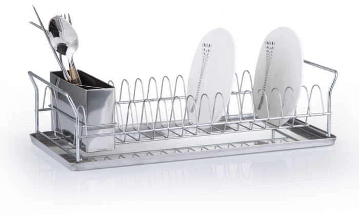 Stainless Steel Plate Drainer with Drip Tray and Cutlery Holder