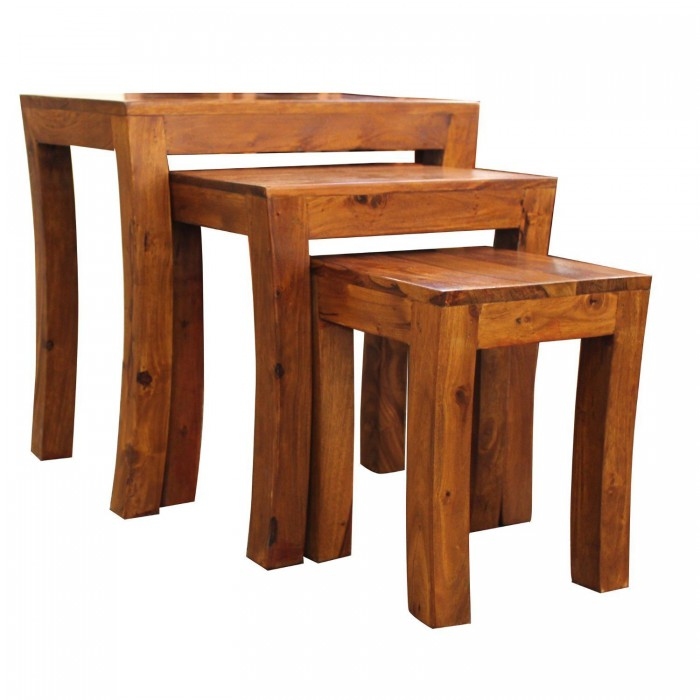 Luxury Solid Rosewood Curved Legs Contemporary Nest of Tables