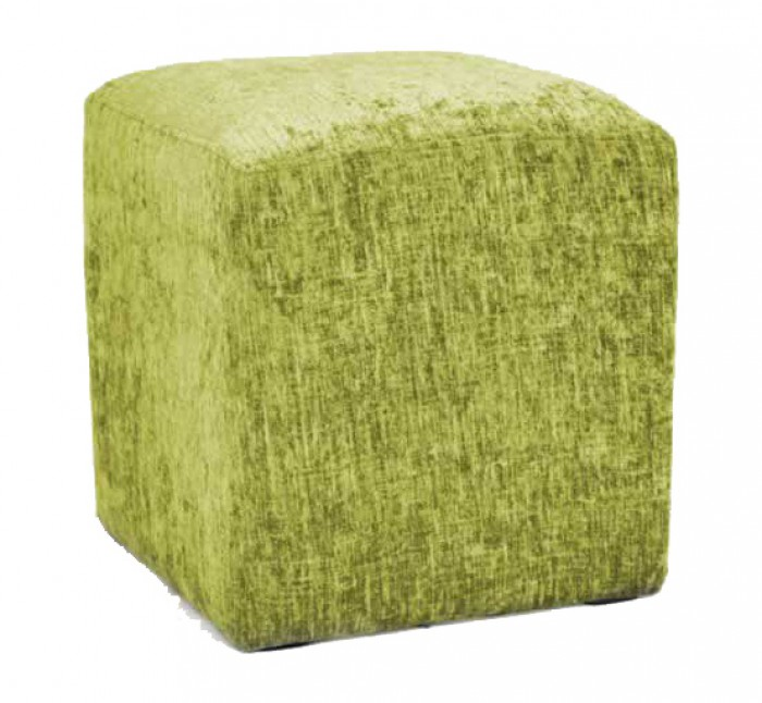 Hand Made Green Chenille Effect Fabric Footstool Cube