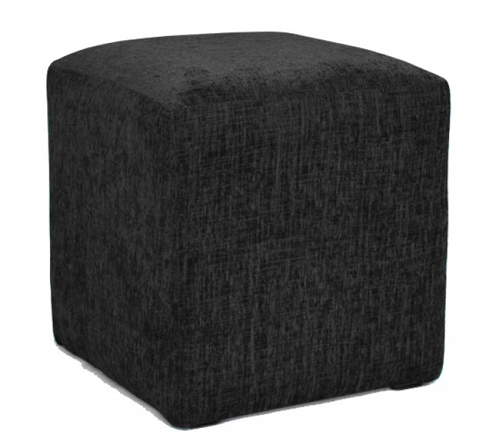 Hand Made Black Chenille Effect Fabric Footstool Cube