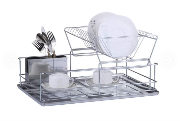 Two Tier Stainless Steel Dish Drainer with Drip Tray and Cutlery Holder