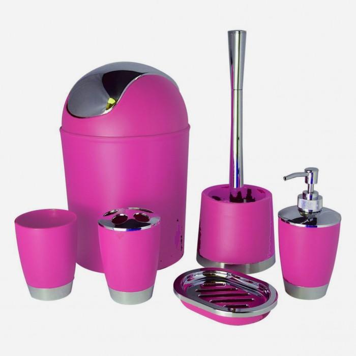 Bathlux Modern Design 6 Piece Bathroom Accessory Set- Pink
