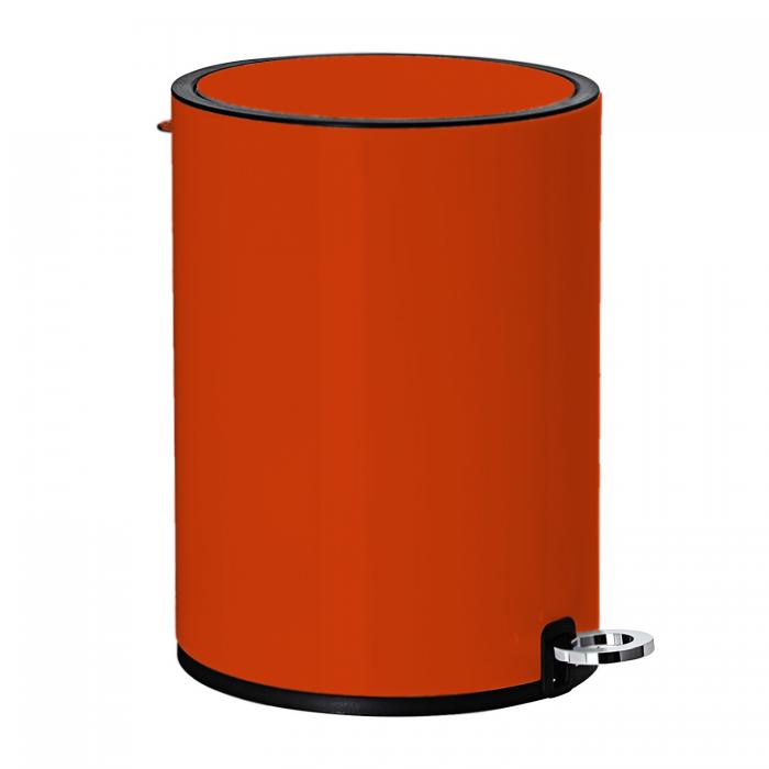Modern Style Powder Coated Soft Close Pedal Bin, Plastic Inner bucket, ABS lid - Orange