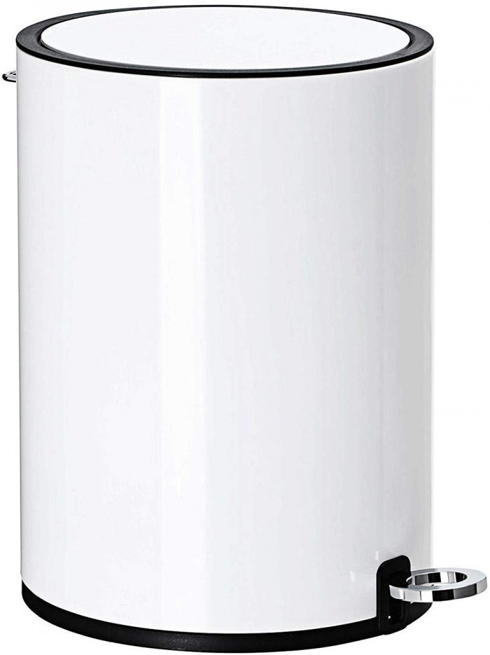 Modern Style Powder Coated Soft Close Pedal Bin, Plastic Inner bucket, ABS lid - White