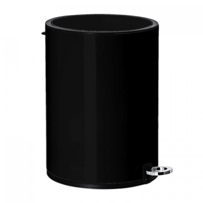 Modern Style Powder Coated Soft Close Pedal Bin, Plastic Inner bucket, ABS lid - Black