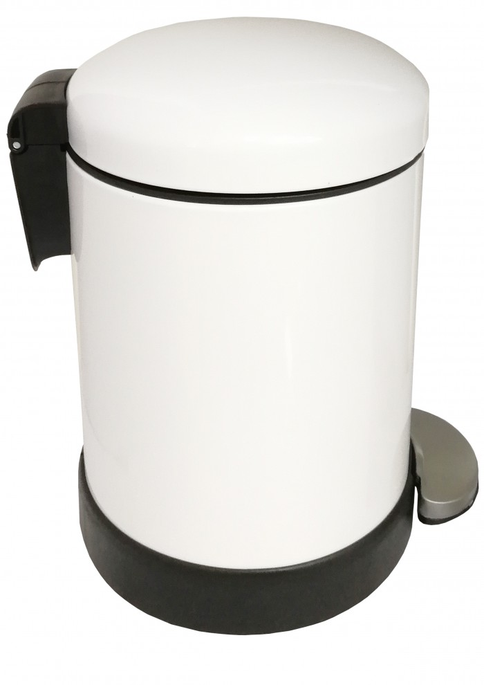 Classic Style Powder Coated Soft Close Pedal Bin, Plastic Inner bucket, ABS lid - White