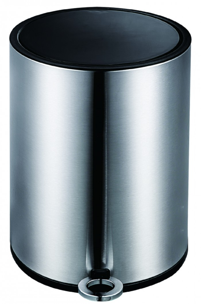 Modern Style Satin Black Soft Close Pedal Bin, Plastic Inner bucket, ABS lid - Chrome