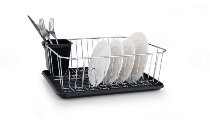 Dish Drainer with Black Plastic Drip Tray and Cutlery Holder