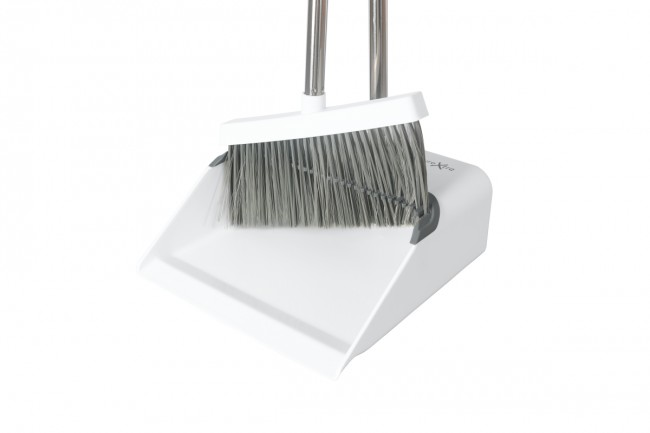 Long Handled Dustpan and Brush Combo Sets Upright Dustpan with Long Handled Broom for Indoor and Outdoor floor Sweeping