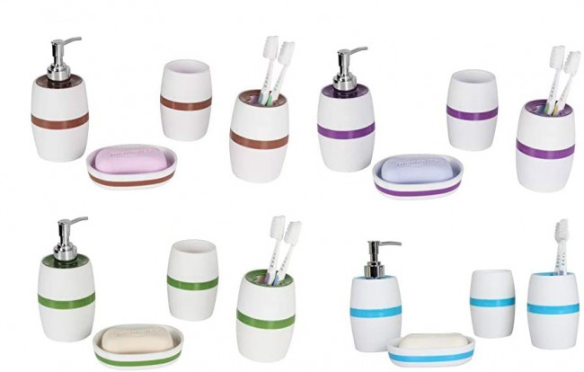 Elegant White with Color Band ABS Plastic Bathroom Accessory Set, Tumbler, Toothbrush Holder, Soap Dispenser and Soap Dish