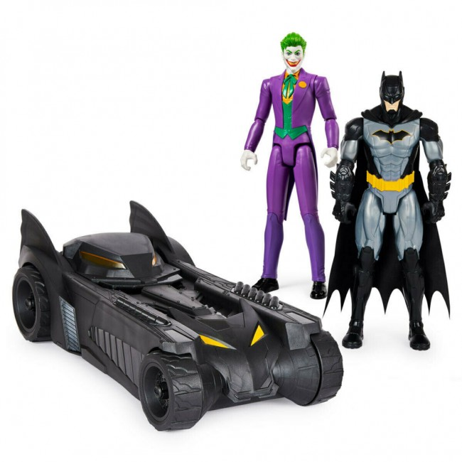 DC Batmobile and 12 Inch (30cm) Tactical Batman and Joker Figures (For 5+ Years)