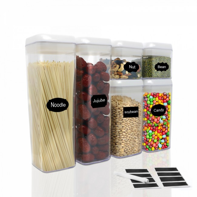 FurnitureXtra Stackable Airtight Food Storage BPA Free and Food Grade Plastic - Spaghetti and Cereal Dispenser (Set of 6)